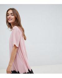 ASOS - Asos Design Petite Pleated Mini Dress With Lace Hem - Lyst