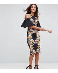 ASOS - Mirror Printed Cold Shoulder Midi Bodycon Dress - Lyst