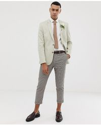 ASOS - Wedding Skinny Blazer In Stone Cotton - Lyst