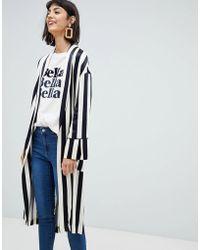 Mango - Longline Duster Jacket In Mono Stripe - Lyst