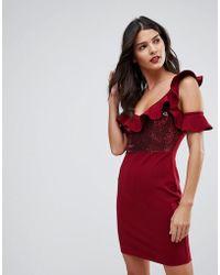 Naanaa - Frill Detail Mini Dress In Sequins - Lyst