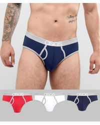 ASOS - Briefs In Red White & Blue With Branded Waistband 3 Pack In Organic Cotton - Lyst