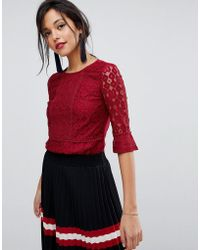 Oasis - Fluted Sleeve Lace Top - Lyst