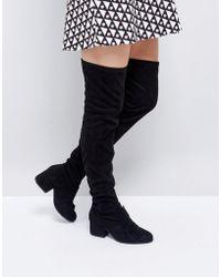 London Rebel Oversized Bow Over Knee Boot - Black