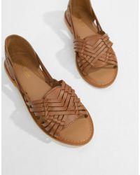 ASOS - Design Focal Leather Flat Sandals - Lyst