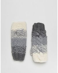 Eugenia Kim - Genie By Carlie Cream And Gray Ombre Fingerless Cable Knit Gloves - Lyst