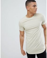 ASOS - Design Muscle Longline Rib T-shirt With Curved Hem In Beige - Lyst