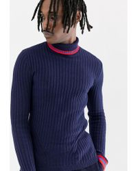 ASOS - Ribbed Roll Neck Jumper With Tipping In Navy - Lyst