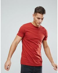 ASOS - Design Longline T-shirt With Crew Neck In Red - Lyst