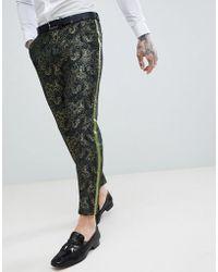 ASOS - Skinny Crop Suit Trousers In Green Jacquard - Lyst