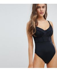 ASOS DESIGN - Fuller Bust Exclusive Contour Panel Underwired Swimsuit Dd-g - Lyst