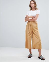 Monki - Tie Front Cropped Pants In Sand - Lyst