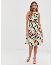 aadddd21d4c58 Chi Chi London Jacquard Full Midi Skirt Co-ord in Yellow - Lyst