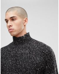 Only & Sons - Knitted Sweater With High Zip Neck - Lyst