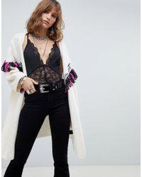c94627fdb9 Native Rose - Oversized Cardigan With Contrast Bohemian Fringing - Lyst