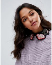 ASOS - Sheer Floral Embroidered Collar - Lyst