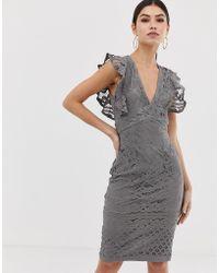 Girl In Mind - Frill Sleeve Midi Dress - Lyst