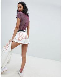 Missguided - Barbie Glitter Logo Denim Shorts - Lyst