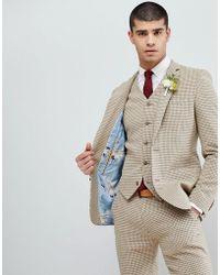 ASOS - Wedding Super Skinny Suit Jacket In Neutral Houndstooth - Lyst