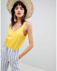 Mango - Round Neck Organic Cotton Oversized Vest In Yellow - Lyst