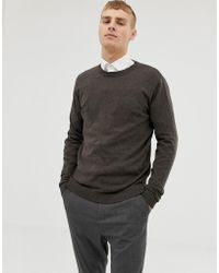 ASOS - Cotton Sweater In Brown - Lyst