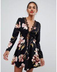 55dc33bf18 Missguided Floral Tie Back Skater Dress in Black - Lyst