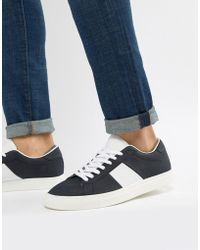 Pull&Bear - Suede Trainer With Side Stripe In Navy - Lyst