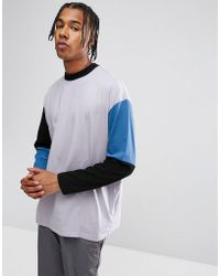 ASOS DESIGN - Asos Oversized Long Sleeve T-shirt With Cut And Sew Color Block - Lyst