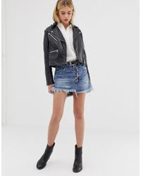 One Teaspoon - Exposed Button Denim Skirt With Raw Hem - Lyst