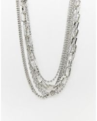 ASOS - Multirow Necklace With Mixed Hardware Chains And Crystal In Silver - Lyst
