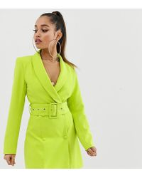Missguided - Blazer Dress In Neon Green - Lyst