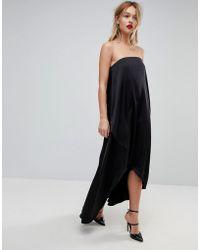 ASOS | Bandeau Wrap Satin Midi Dress | Lyst