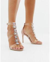 ALDO Sandalias de tacón de acrílico transparente con adornos Montesegale