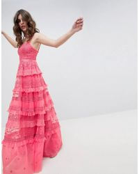 Needle & Thread - Iris Layered Embroidered Cami Maxi Dress In Hot Pink - Lyst