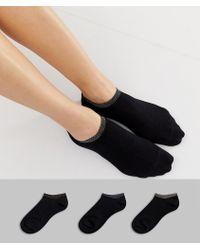 Monki Glitter Trim 3 Pack Sneaker Socks In Black