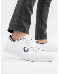 Fred Perry - Kendrick Canvas Tipped Cuff Trainers In White - Lyst