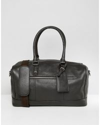 ASOS - Leather Holdall In Brown With luggage Tag - Lyst