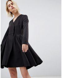 UNIQUE21 - Unique 21 Black Dress With Pleated Skirt - Lyst