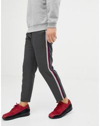 Pull&Bear - Trousers In Grey With Multi Coloured Side Stripe - Lyst