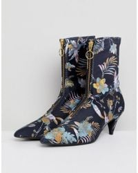 Gestuz - Palm Print Fabric Sock Boots - Lyst