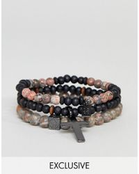 Icon Brand | Grey Beaded Bracelet In 3 Pack Exclsuive To Asos | Lyst
