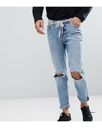 5b94c09e338 TOPMAN Mid Wash Blow Out Knees Skinny Jean in Blue for Men - Lyst