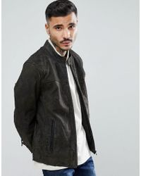 Goosecraft - Austin Distressed Leather Jacket In Grey - Lyst
