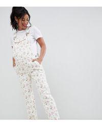 ASOS - Asos Design Maternity Denim Dungaree In Floral Print - Lyst