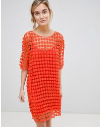 See U Soon - Shift Dress In Floral Crochet - Lyst