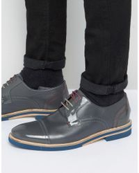 Ted Baker - Braythe 2 Derby Shoes In Grey Leather - Lyst