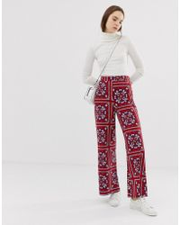 68f5a5854a4b ASOS - Wide Leg Trousers In Paisley Scarf Print - Lyst