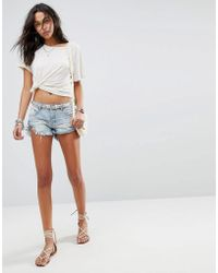 One Teaspoon - Bandits Festival Knicker Denim Shorts With Turn Up Hem - Lyst