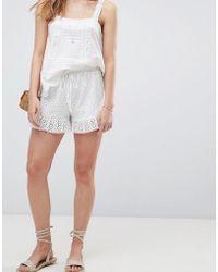 ASOS - Design Shorts In Summer Cotton Broderie - Lyst
