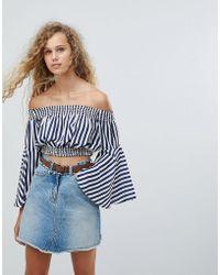 Love - Stripe Bardot Top - Lyst
